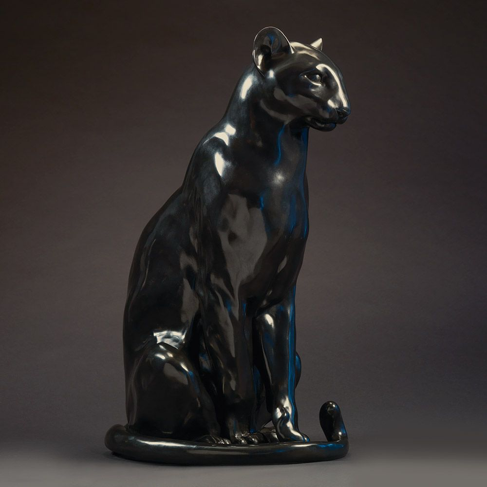 ART DECO GOLD BRONZE CHEETAH STATUE BIG CAT LEOPARD FELINE PANTHER LION JAGUAR