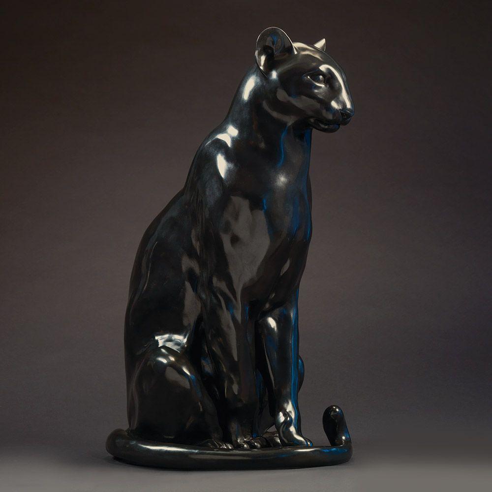 Life Size Black Panther Sculpture Ltd Edition Bronze Leopard By Sculptor Nick Bibby