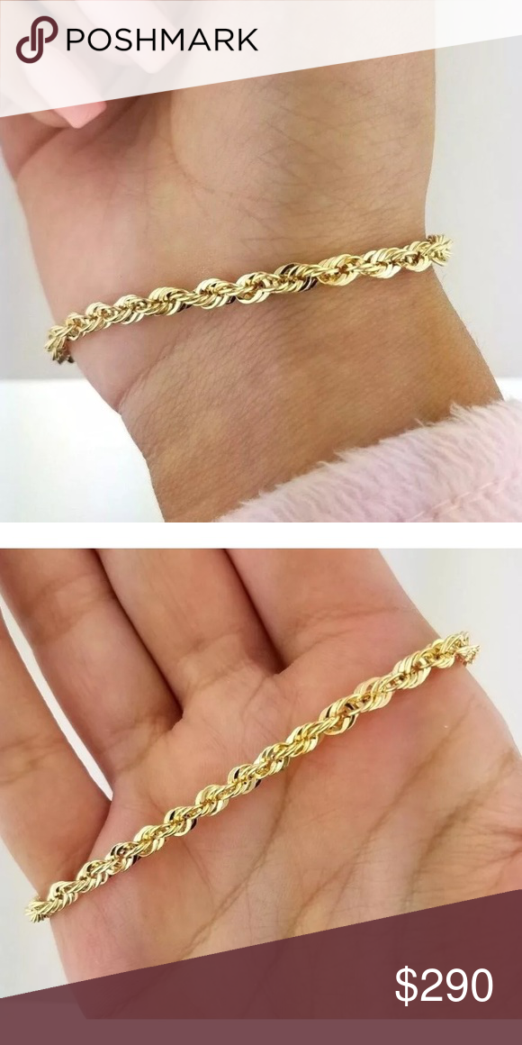 New Real Gold 4mm Thick Rope Chain Bracelet 7 Chain Bracelet Rope Chain Bracelets