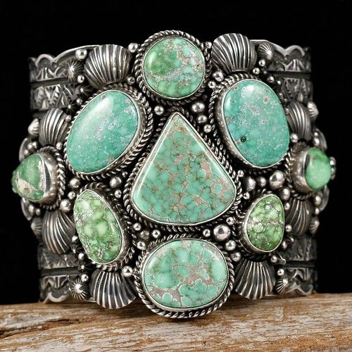 Cuff | Darryl Becenti (Navajo).  Sterling silver and Carico Lake Turquoise