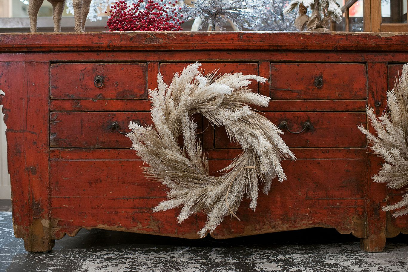 Winter wreath to enhance Mecox Houston dresser display #interiordesign #home #decor #design #holiday