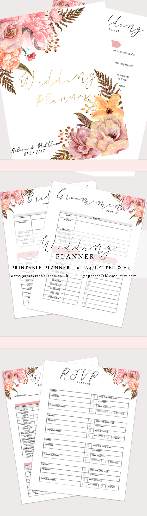 wedding planner printable wedding organizer wedding binder