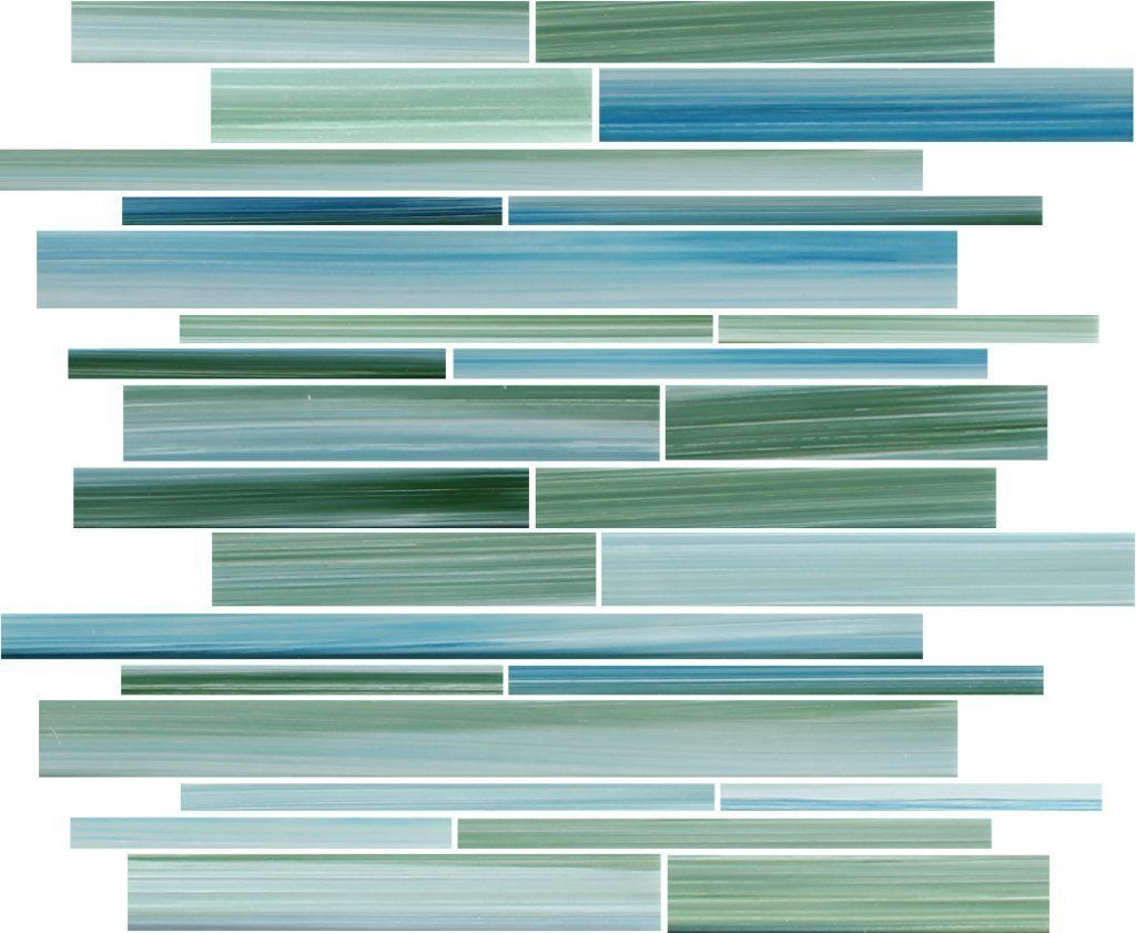 10 Sq Ft - Rip Curl Green and Blue Hand Painted Linear Glass Mosaic Tiles - Amazon.com