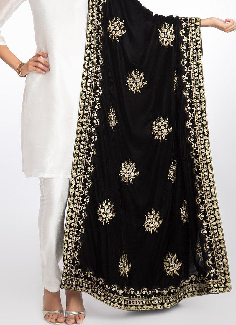 Black Heavy Embroidered Velvet Shawl Velvet Dress