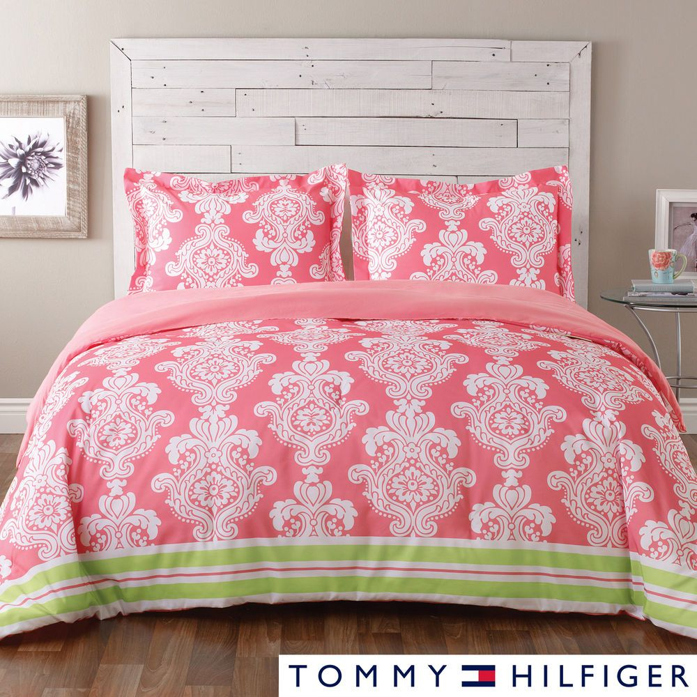 TOMMY HILFIGER KIMBERLEY 8 PIECE COMFORTER SET pink and green damask floral #TommyHilfiger