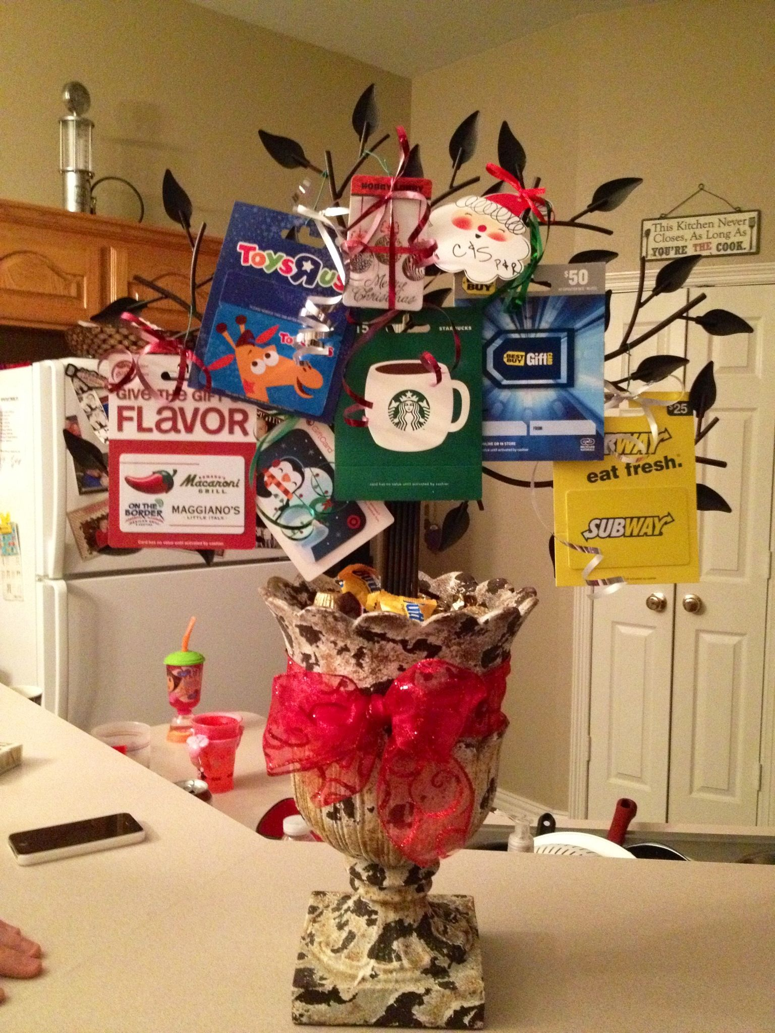 Gift card tree ideas pinterest -  Gift Card Tree That My Mom Made Us For Christmas