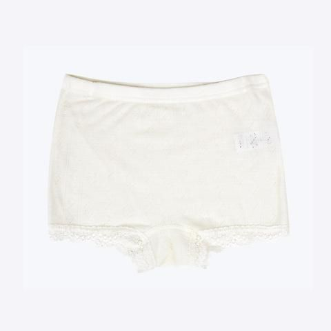 Merino wool/silk hipsters natural with lace 2y-8y