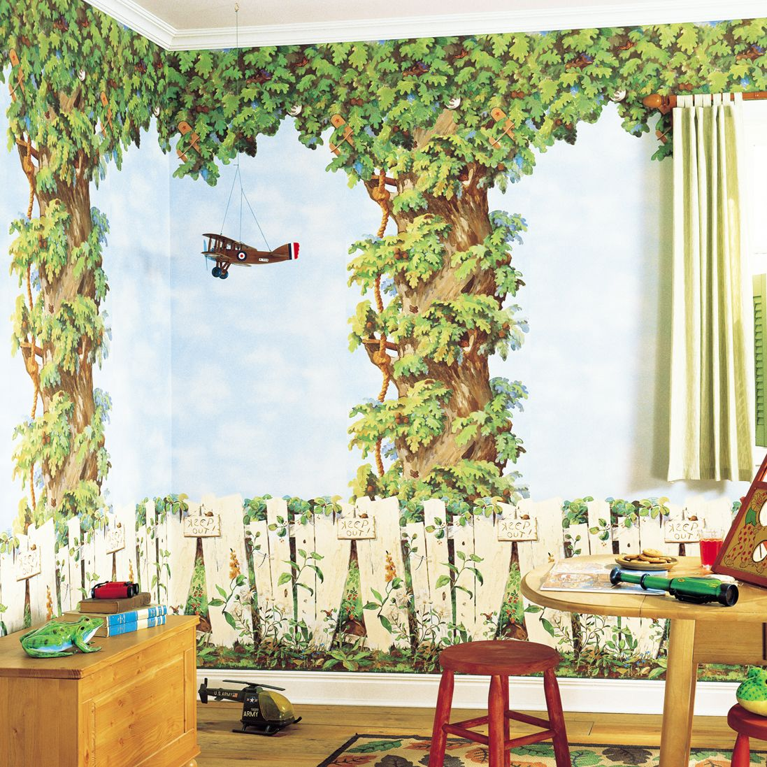 Foster learning and imagination here with Tree House mural http://lelandswallpaper.com. Combine bottom border, top border, tree border and cloud wallpaper.  Borders $29.99 each and wallpaper $29.99 per single roll