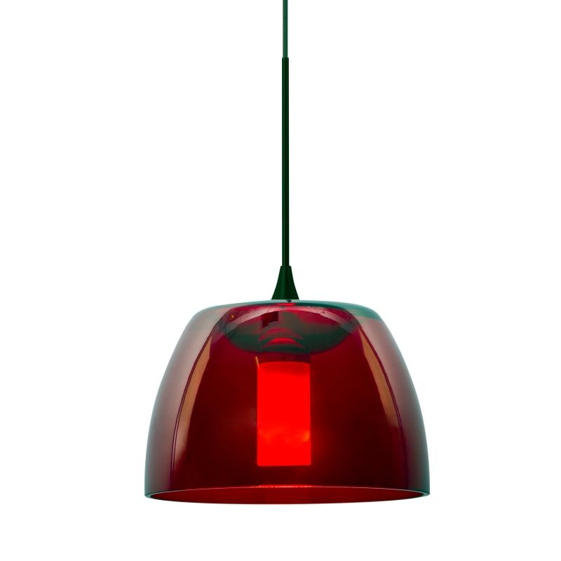 Besa Lighting 1XT-SPURRD-LED-BR Bronze Spur Single Light LED Mini Pendant with Red Glass Shade