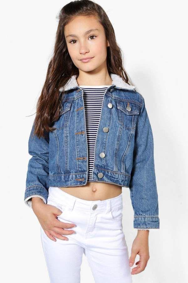 ff72f57a4a Girls Borg Collar and Cuff Denim Jacket #jeans#distressed#fit | kids ...