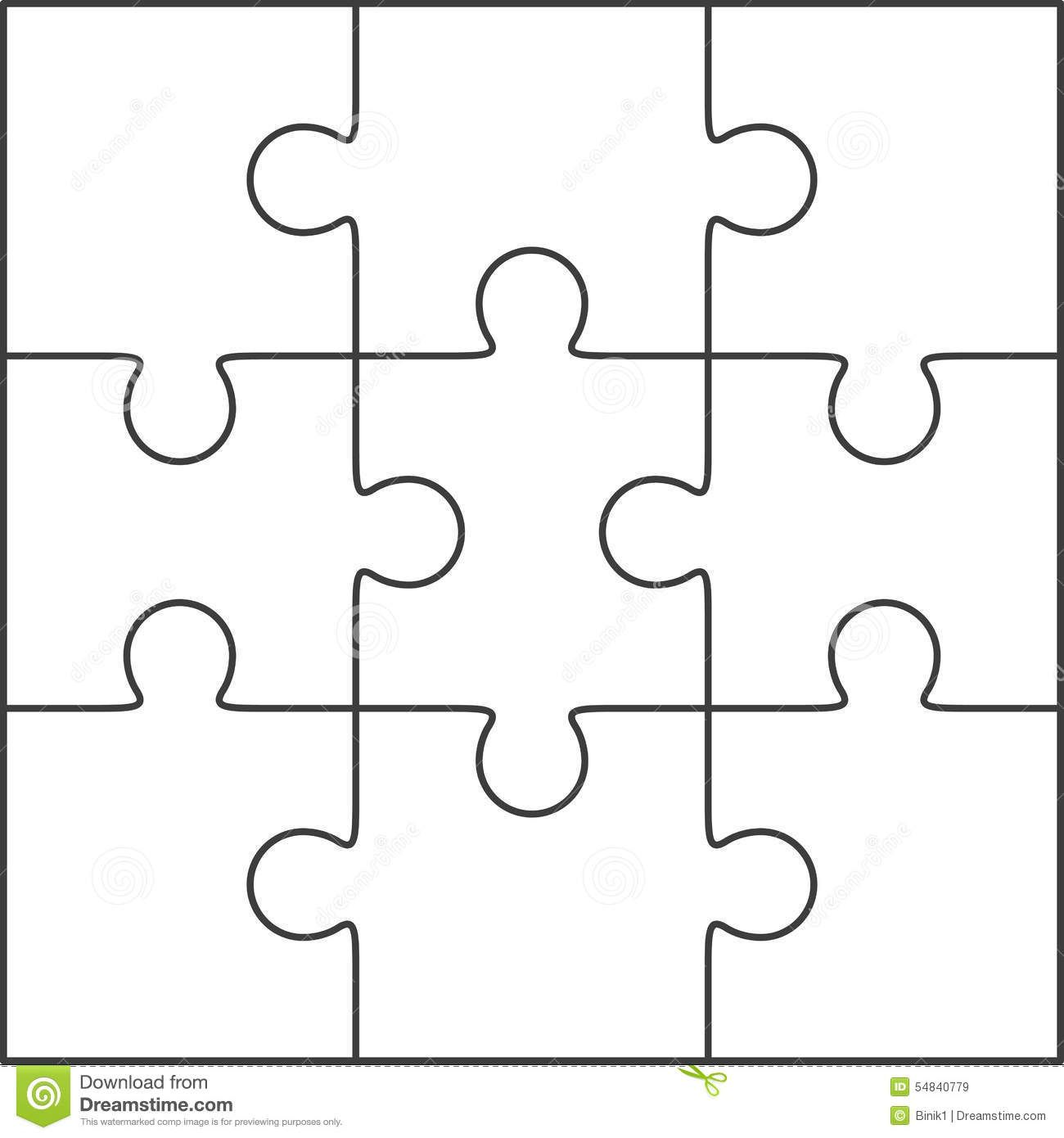 Photo About Jigsaw Puzzle Blank Simple Template 3x3 Illustration Of Background Idea Connect