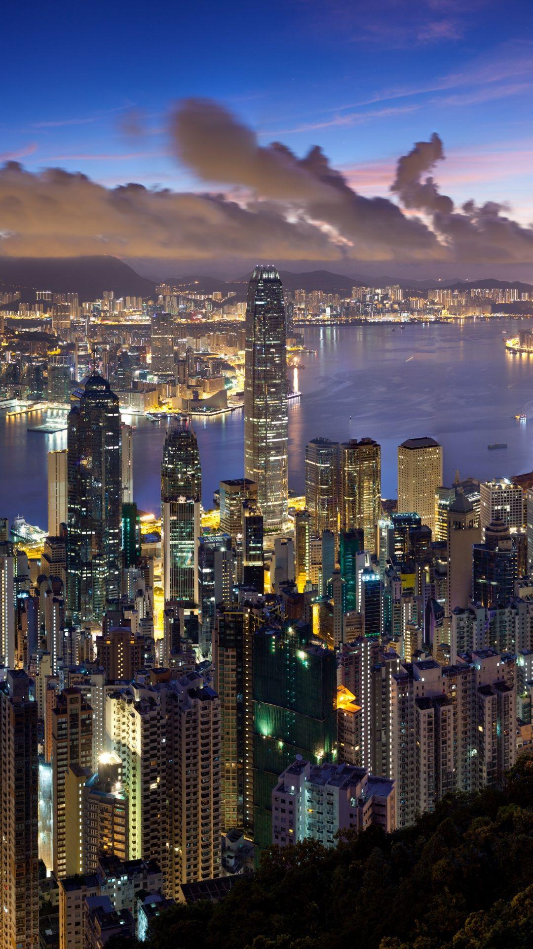 Wallpaper City Hong Kong Night Clouds Lights Hong Kong Night Hong Kong Travel City