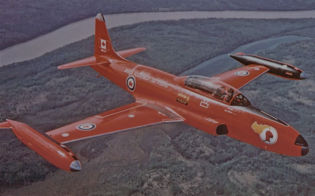 Royal Canadian AF - Canadair CT-133 Silver Star (Red Knight) A solo, Aerobatics Performer of Training Command from 58-69 - The Red Knight was Shared by 17 Different Pilots