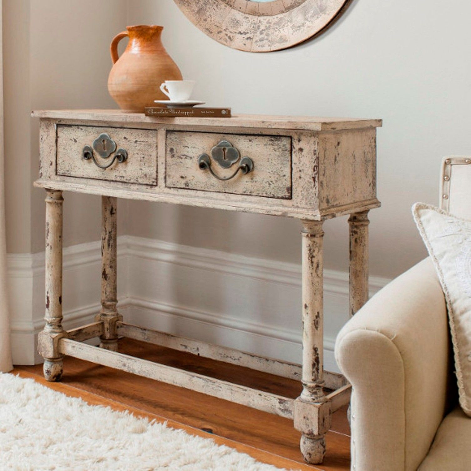 Furniture , Distressed Furniture Design Ideas : End Table Distressed Furniture For Living Room With Drawers