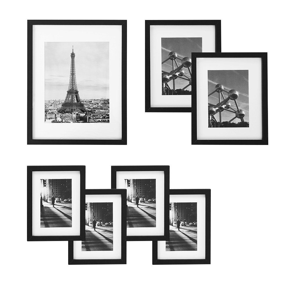 Songmics Picture Frames Set Of 7 Pieces One 11 X 14 Inches Two 8 X 10 Inches Four 6 X 8 Inches With White Mat Real Glass For Multiple Photos Black Wood Grain Urpf37bk
