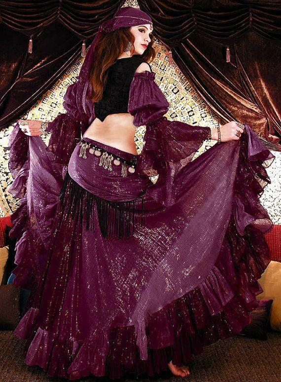 c61f3911e Cotton Lurex Tribal Gypsy Belly Dance Costume - Skirt, Gypsy Top, Harem  Pants, Hip Scarf