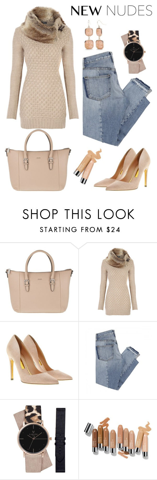 """""""Nudes!"""" by schenonek ❤ liked on Polyvore featuring Joop!, Rupert Sanderson, Mix Nouveau and New Directions"""