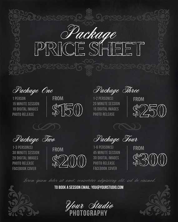 Photography Price List  Session Packages Pricing Sheet