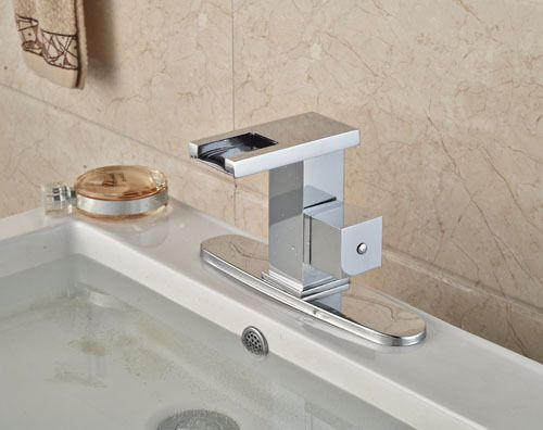 Contemporary Waterfall Spout Basin Faucet Single Handle Bathroom