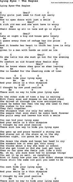 Song Lying Eyes by The Eagles, with lyrics for vocal performance and ...