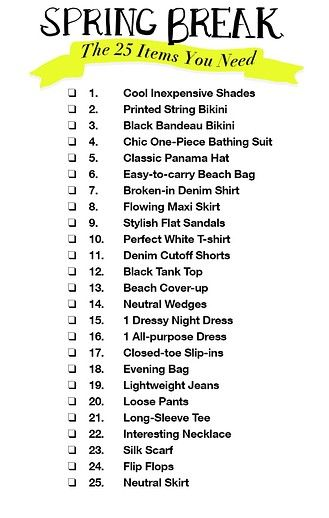Spring Break Packing List The Only 25 Items You Need To Bring