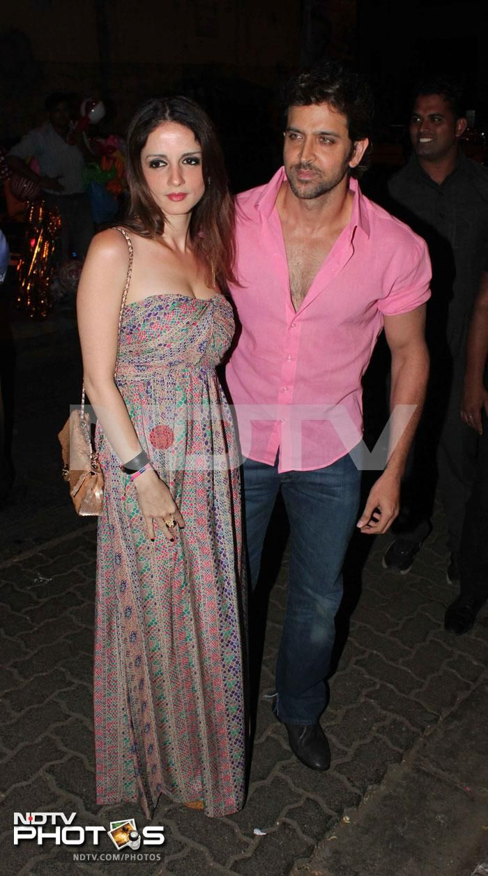 Hrithik Roshan, who is currently working on his home-prodcution Krrish 3, came with wife Sussanne who wore a maxidress.