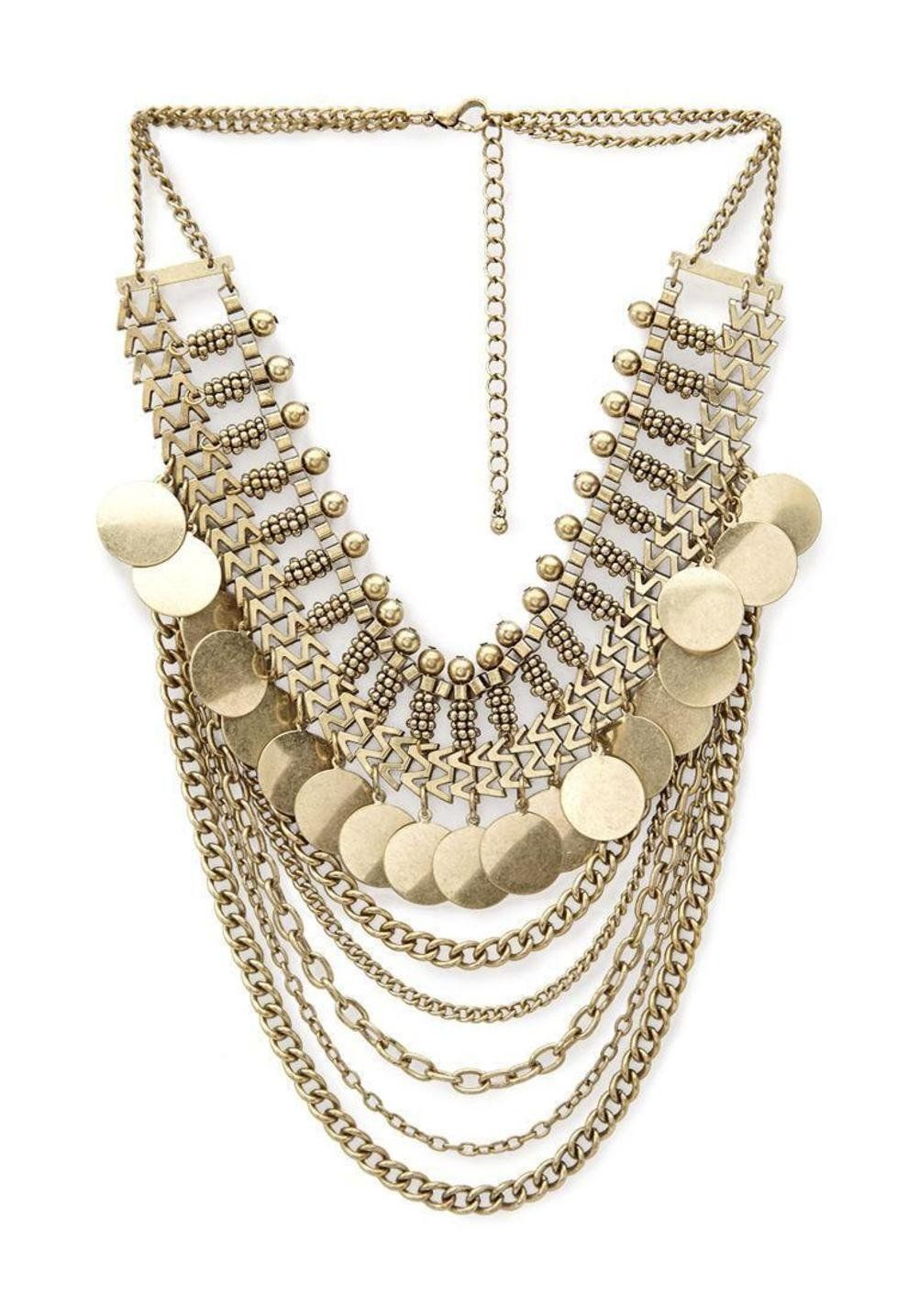 Forever 21 Burnished Gold Layered Chain Coin Necklace Coin