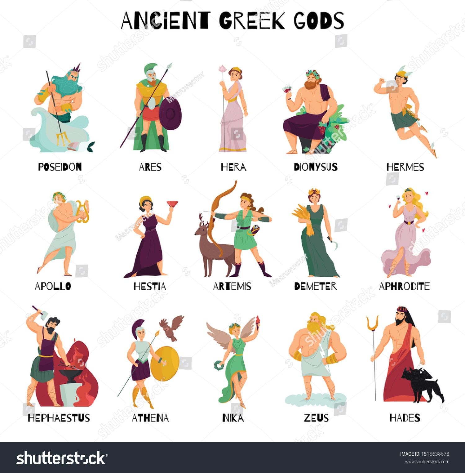 Colorful Cartoon Icons Set With Male And Female Ancient Greek Gods And Their Names Isolated On White Background Vector Illus Quran Book Book Cover Royalty Free