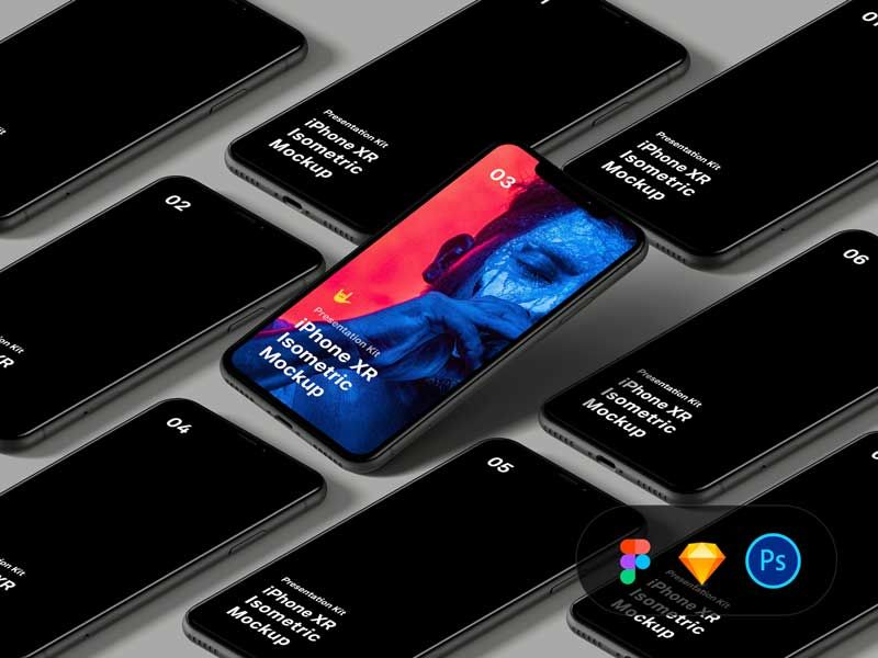 Isometric iPhone XR Free Mockup in 2020 Iphone