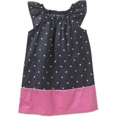 Healthtex Baby Toddler Girl Essential Woven Flutter Sleeve Dress, Size: 18 Months, Blue