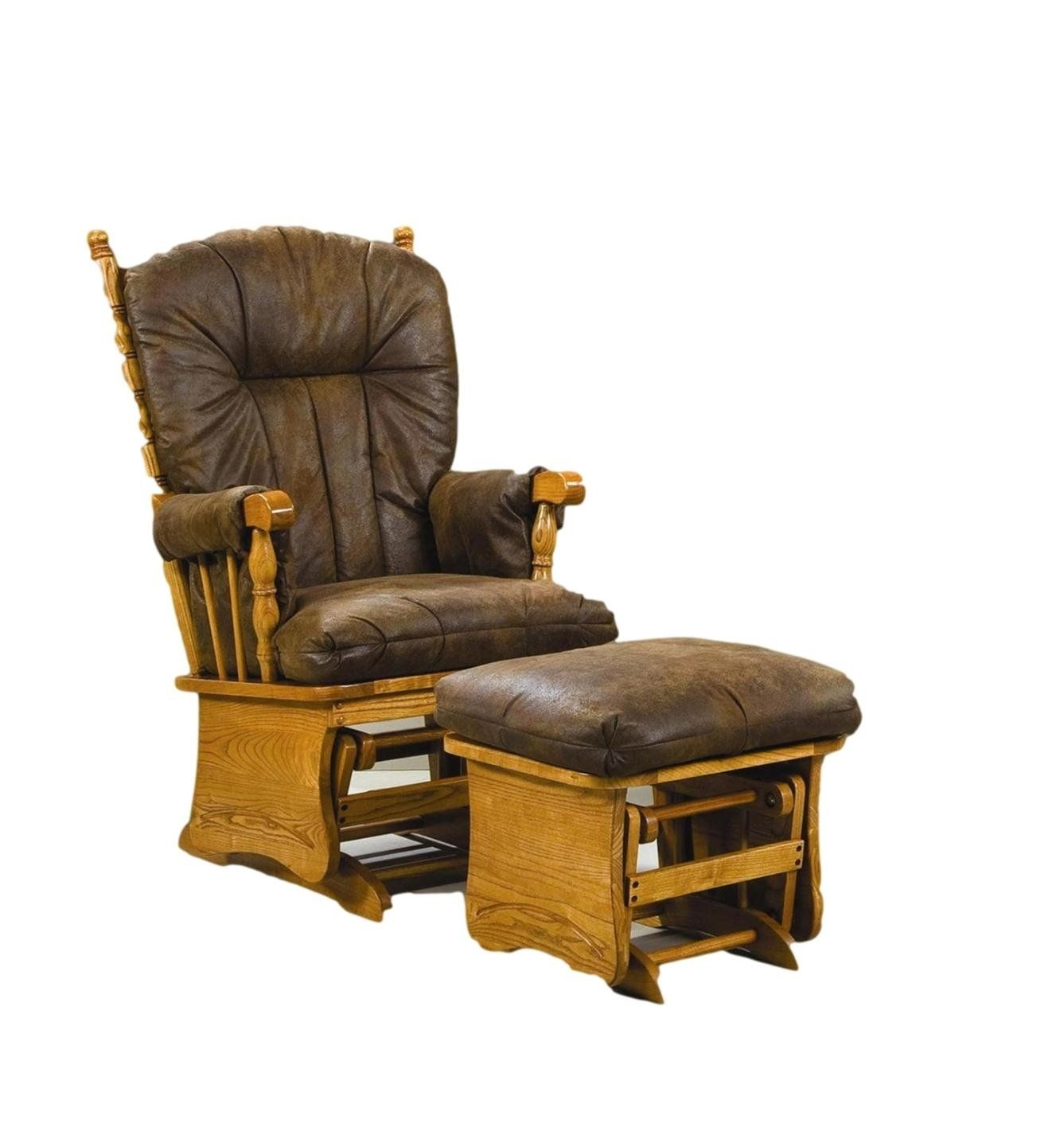 Brooks Furniture 1753 Oak Post Back/Solid Panel Glider Rocker With Arm Pads  And Palomino
