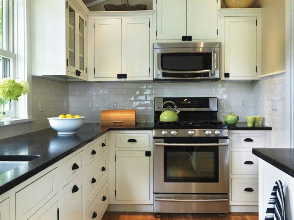 Small L Shaped Kitchen Remodel Ideas Part - 44: Small L Shaped Kitchen Design Ideas With White Kitchen Cabinet And Black  Granite Countertop