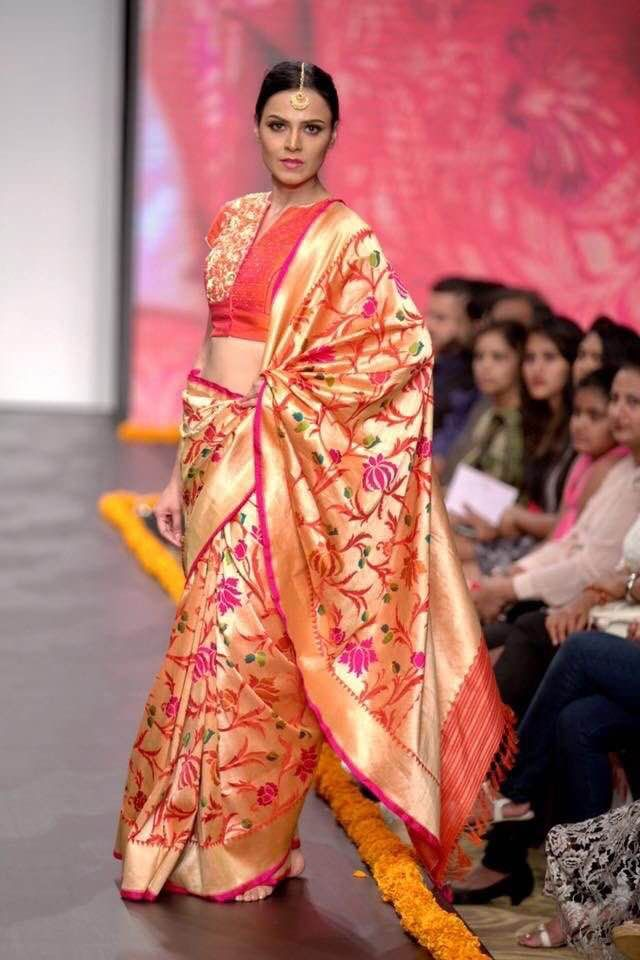 097f3854296c5e Gold color benaras silk saree with simple pink outline and jamdhani weave  lotus floral printed zari weave all over the saree