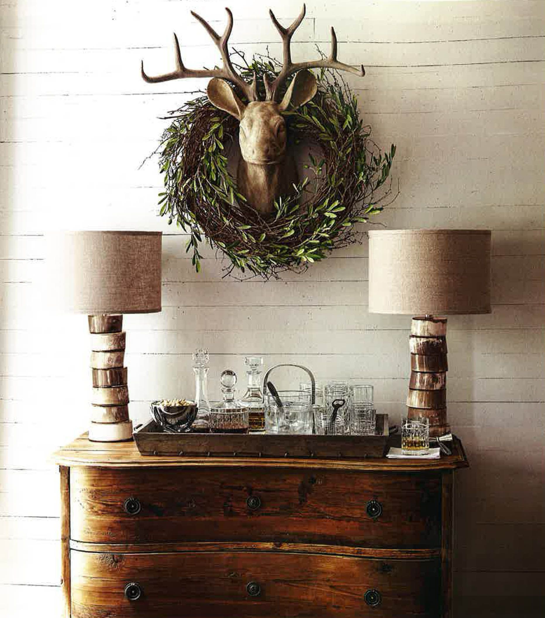 Rustic Pine Toung And Groove Interior Design: Jamie Young Co. Stacked Horn Table Lamps