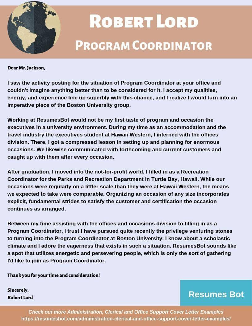 Program Coordinator Cover Letter Samples Templates Pdf