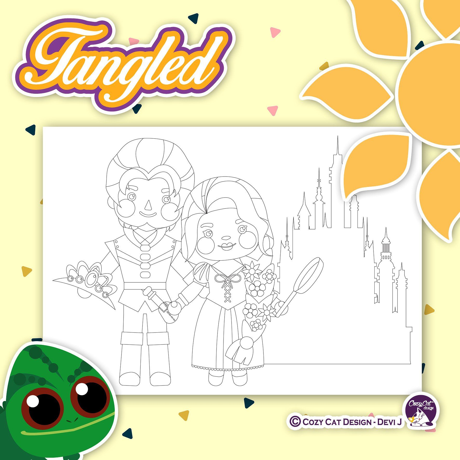 Tangled Coloring Pages Tangled Rapunzel Magic Hair Tower Castle