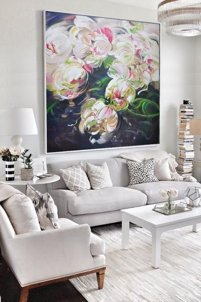 Abstract Flower Oil Painting #lx10A  Canvases Oil And Flower Captivating Living Room Paintings Design Decoration