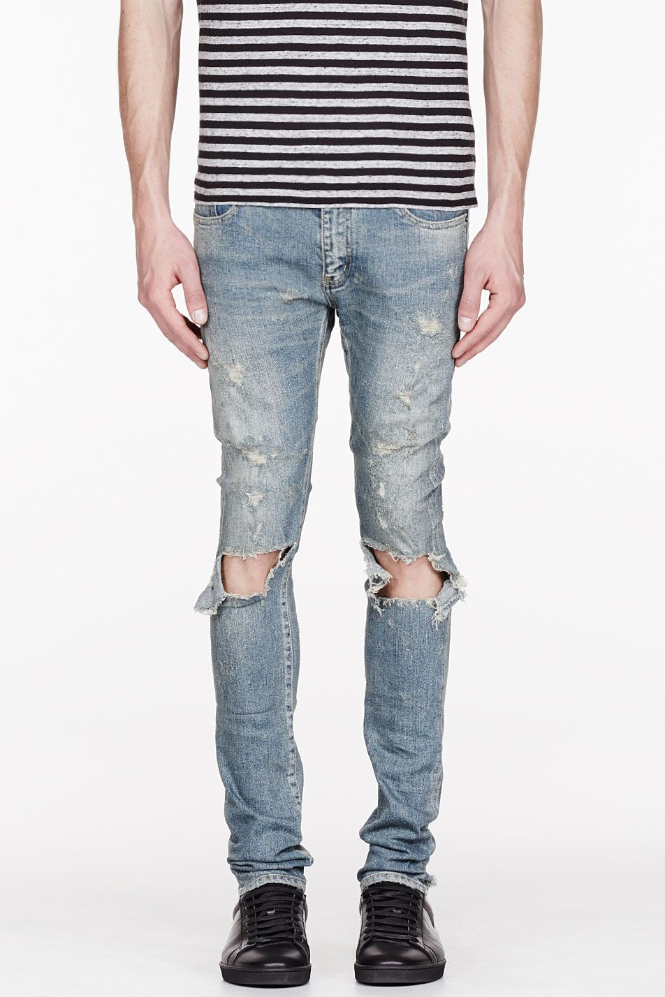 971c1907 SAINT LAURENT Blude faded & destroyed jeans Mens Skinny Ripped Jeans, Denim  Jeans, Riped