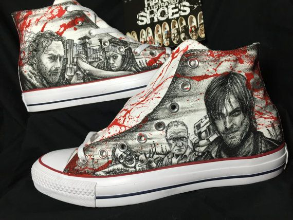 a17dad80ee2a One of a kind Hand drawn the Walking Dead shoes