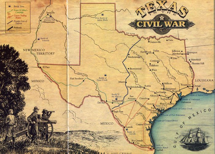 Map of Texas in the Civil War  Home  Pinterest  Civil wars