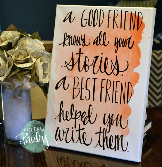 Bridesmaid Gift Watercolor Friendship Quote Canvas Painting ...