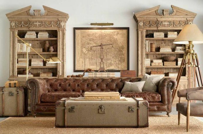 Truhe Als Couchtisch Vintage Wohnzimmereinrichtung Alter Koffer