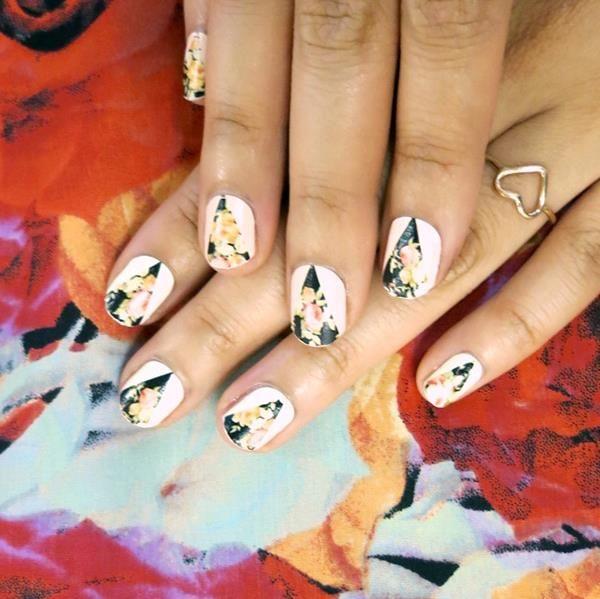 Nasty Gal nail art #triangle #floral #manicure | Fine, Fresh, Fierce ...