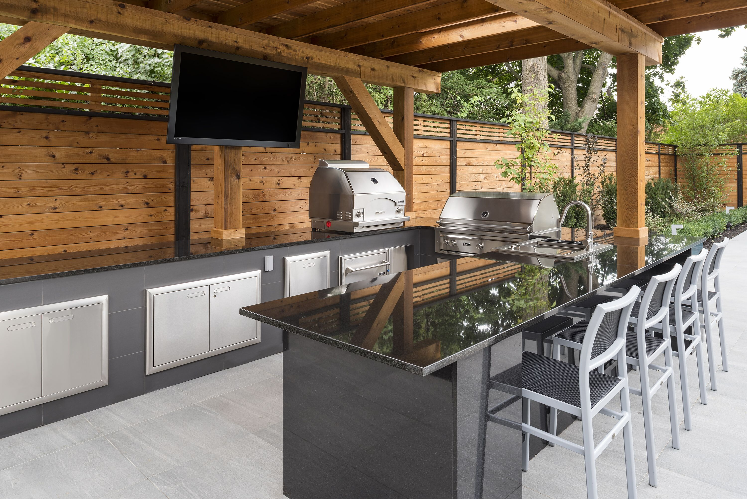 Modern Lynx outdoor kitchen  Covered outdoor kitchens, Outdoor