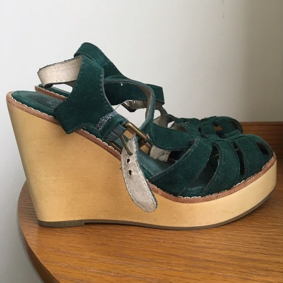 "Leather wedges Green genuine suede leather. Wooden wedge heel. Heel is 4 inches with a .75"" platform. Never worn. GAP Shoes Wedges"
