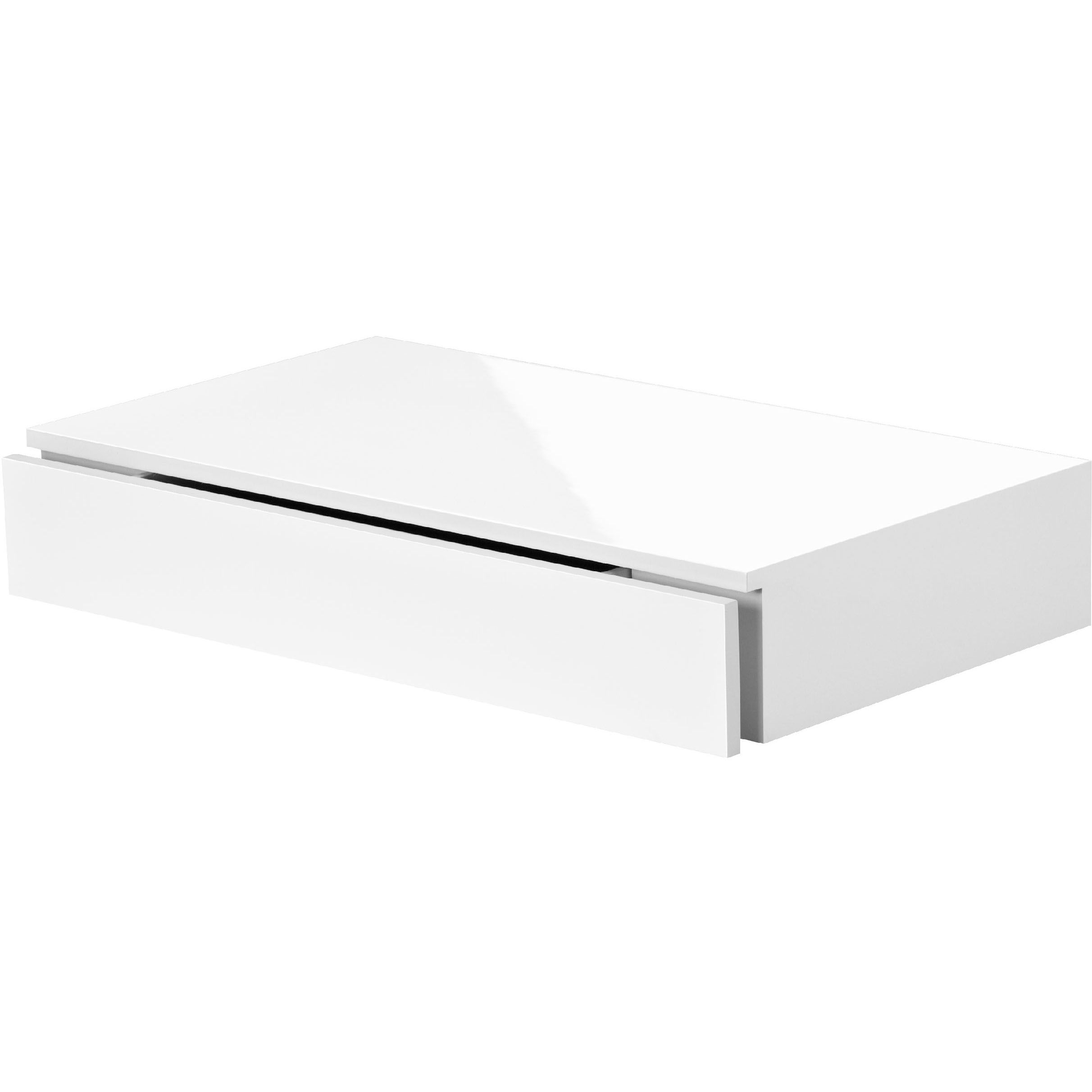 White Floating Shelves With Drawers
