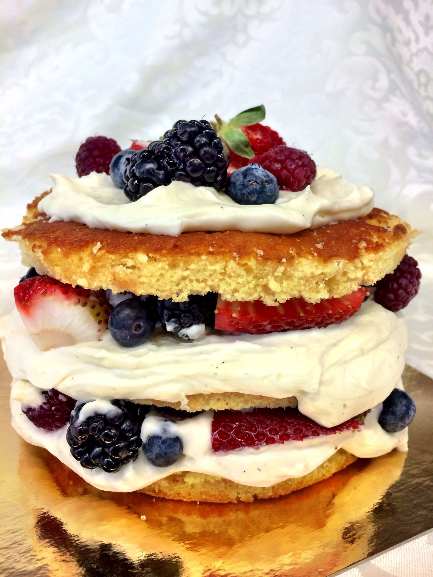 Rustic cake with pastry cream and fruit..