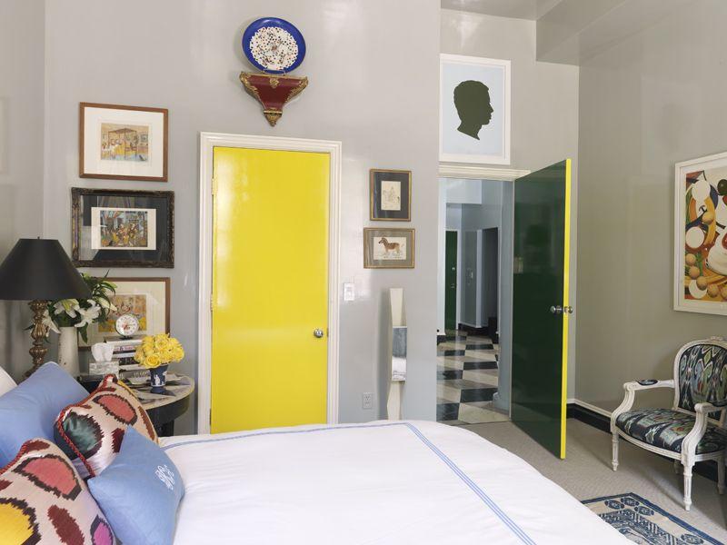 Bedroom with shiny yellow door and gray walls gloss finish. http ...