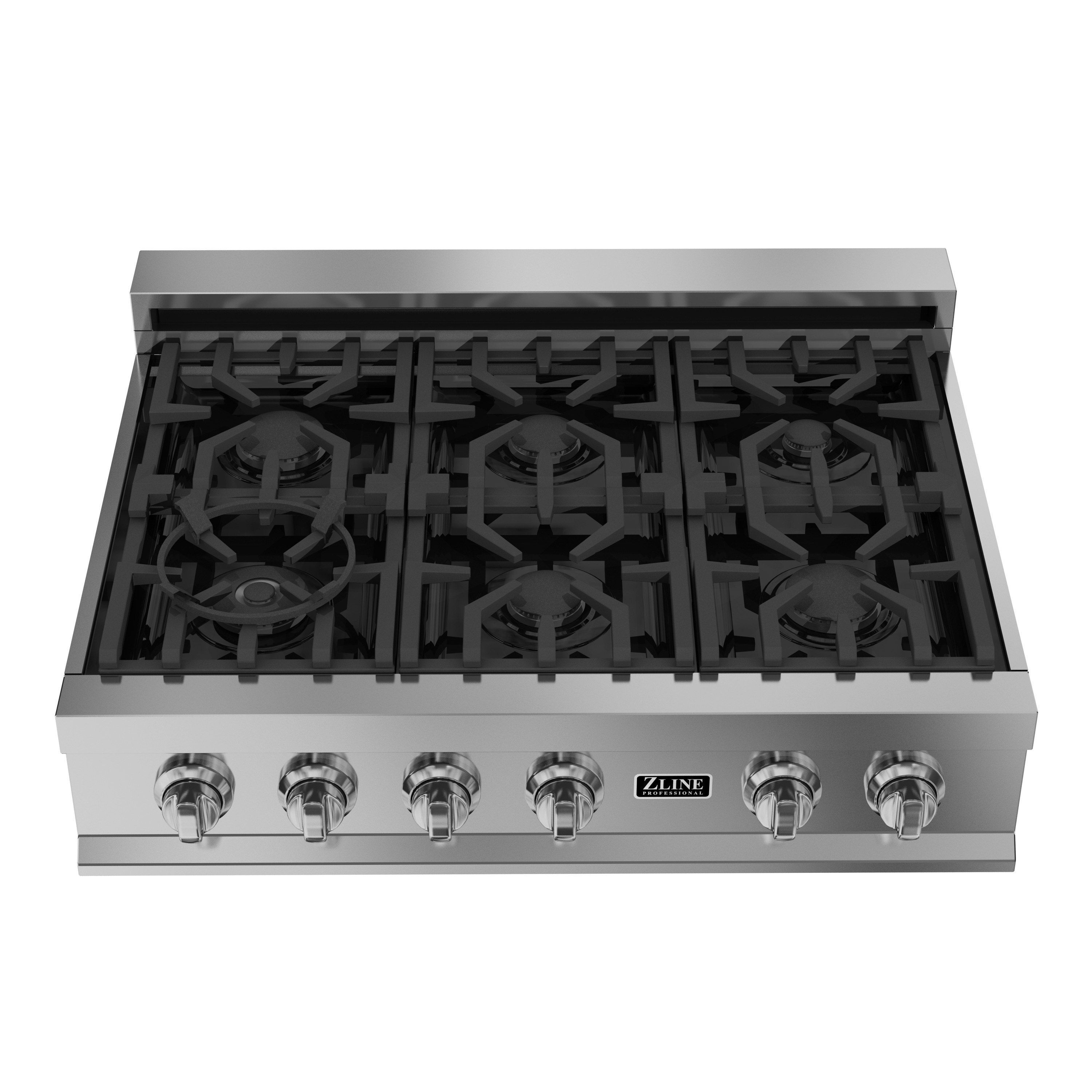 Zline 36 in. Ceramic Rangetop with 6 Gas Burners (RT36), Black ...