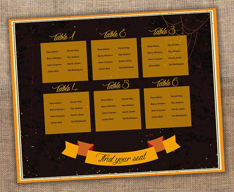 Seat your guests in scary style Halloween wedding seating chart - free printable seating chart